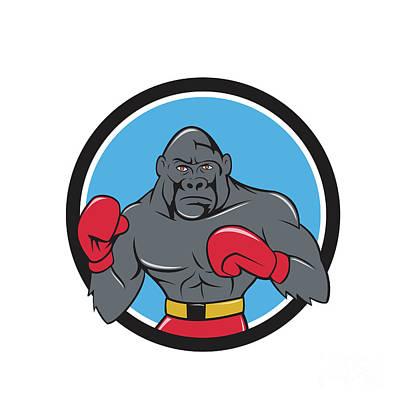 Gorilla Boxer Boxing Stance Circle Cartoon Art Print