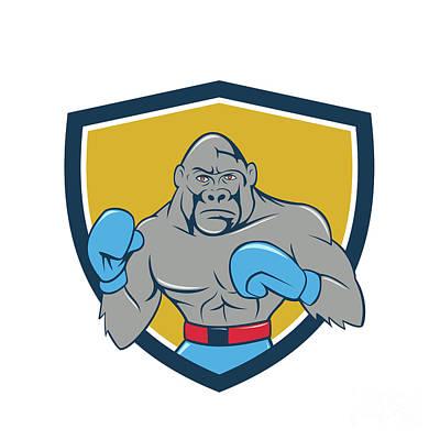 Boxer Digital Art - Gorilla Boxer Boxing Stance Crest Cartoon by Aloysius Patrimonio