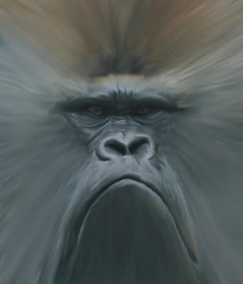 Gorilla Freehand Abstract Art Print by Ernie Echols