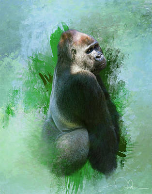 Digital Art - Gorilla by Gloria Anderson