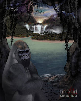 Gorilla Digital Art - Gorilla In The Sunset Mist by Michael Conley