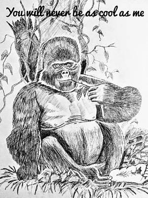 Animals Drawings - Gorilla by Subrahmanya Hegde