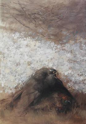 Painting - Goshawk And Pheasant by Attila Meszlenyi