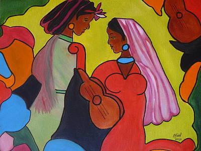 Indian Musical Instrument Painting - Gossiping by Elizabeth Ribet