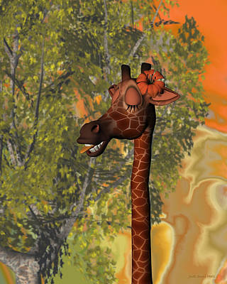 Digital Art - Gossiping Giraffe by Judi Suni Hall