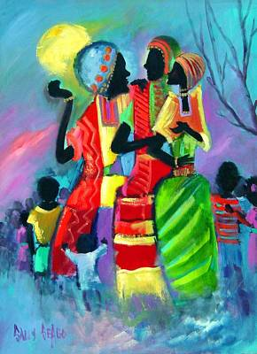 Masai Painting - Gossipping by Sally Seago
