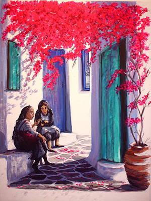 Gossips Art Print by Yvonne Ayoub