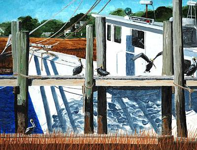 Folly Beach Painting - Got Shrimp by Keith Wilkie