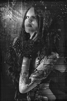 Goth Girl - Black And White Art Print by Rosemary Smith