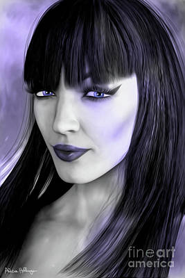 Digital Art - Goth Portrait Purple by Alicia Hollinger