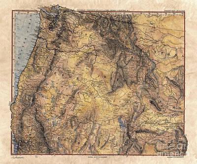 Painting -  Gotha Northwest Map Map Of Oregon, Map Of Washington, Map Of Idaho, Great Salt Lake, Sepia Map, Old by Lisa Middleton