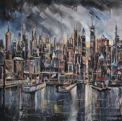 Painting - Gotham City by Stefano Popovski