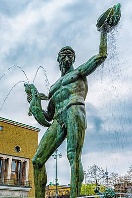 Photograph - Gothenburg Poseidon Fountain by Antony McAulay