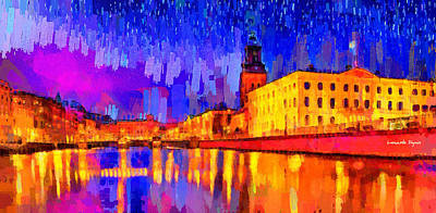 Water Tower Place Painting - Gothenburg Sweden 2 - Pa by Leonardo Digenio