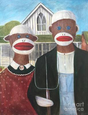 Art Print featuring the painting Gothic American Sock Monkeys by Randol Burns