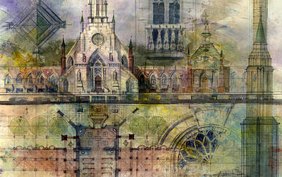 Watercolor City Skylines - Gothic by Andrew King