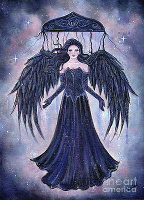 Painting - Gothic Angel Darkness To The Light by Renee Lavoie