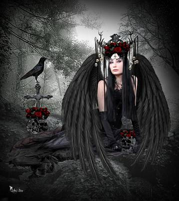 Digital Art - Gothic Angel Of Class by Ali Oppy