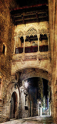 Photograph - Gothic Bridge At Night In Barcelona 2 by Weston Westmoreland