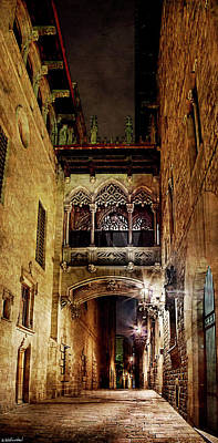 Photograph - Gothic Bridge At Night In Barcelona by Weston Westmoreland