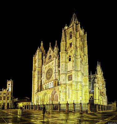 Photograph - Gothic Cathedral Of Leon At Night - Vintage by Weston Westmoreland