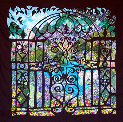 Tapestry - Textile - Gothic Gate To The Garden  by Sarah Hornsby