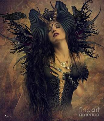 Digital Art - Gothic Goddess Of The Night by Ali Oppy