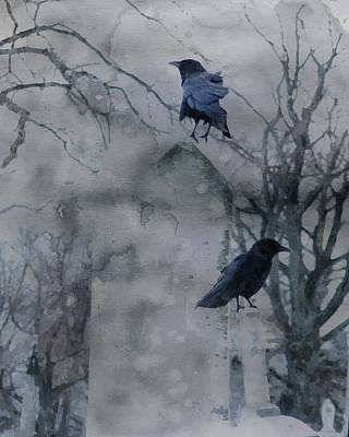 Blackbird Mixed Media - Gothic Gray Wash  by Gothicrow Images