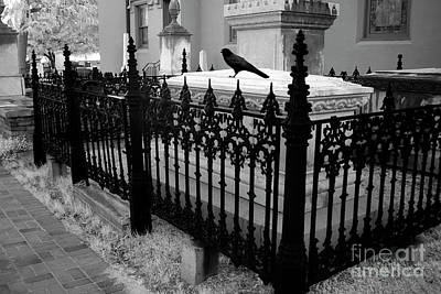 Photograph - Gothic Haunting Surreal Cemetery Gate Coffin With Raven - South Carolina Revolutionary War Grave by Kathy Fornal