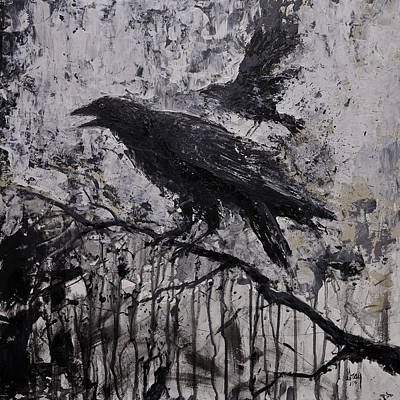 Painting - Gothic Raven Crow Painting  by Gray  Artus