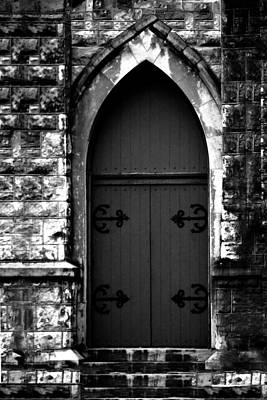 Photograph - Gothic Door Memphis Church In Bw by Lesa Fine