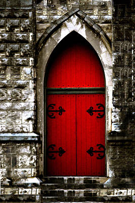 Religious Art Photograph - Gothic Red Door Memphis Church by Lesa Fine