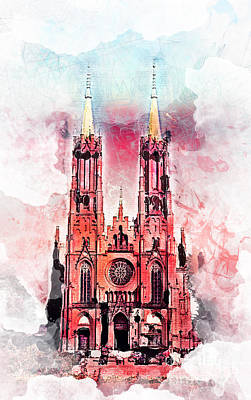 Sacral Painting - Gothic Revival Church In Zyrardow by Justyna JBJart