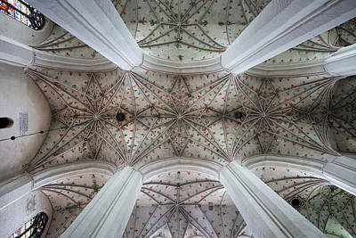 Medieval Temple Photograph - Gothic Ribbed Vault Of Torun Cathedral by Artur Bogacki