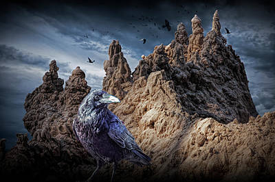 Photograph - Gothic Sand Castle Towers And Black Ravens Amidst A Stormy Sky by Randall Nyhof