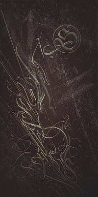 Mixed Media - Gothic Script. Calligraphic Abstract by Dmitry Mandzyuk