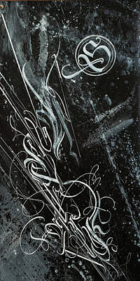Drawing - Gothic Script Galaxy. Calligraphic Abstract by Dmitry Mandzyuk