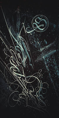 Drawing - Gothic Script Lumine. Calligraphic Abstract by Dmitry Mandzyuk