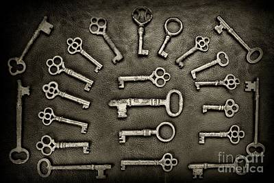 Hobbies And Collections - Art And Photograph - Gothic Skeleton Key Collection In Black And White by Paul Ward
