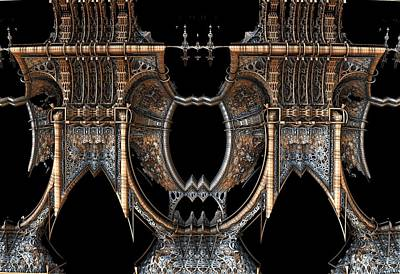 Digital Art - Gothic Steampunk Mirror Frame by Hal Tenny