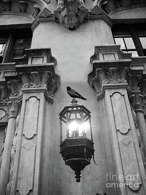 Photograph - Gothic Surreal Black White Raven On Lantern Lamp Post by Kathy Fornal