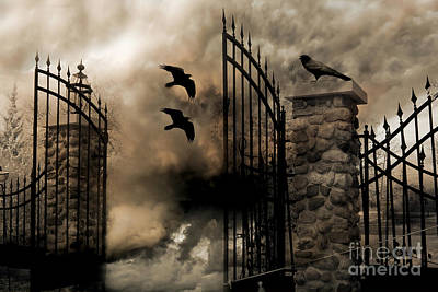 Gothic Surreal Fantasy Ravens Gated Fence  Art Print