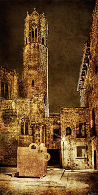 Photograph - Gothic Tower At Night In Barcelona by Weston Westmoreland