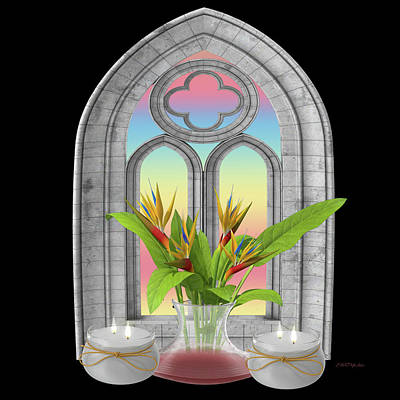 Painting - Gothic Window And Bird Of Paradise by Ericamaxine Price