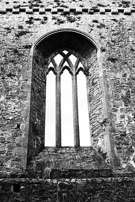 Photograph - Gothic Window Athassel Priory Ireland County Tipperary Medieval Ruins Black And White by Shawn O'Brien
