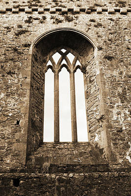 Photograph - Gothic Window Athassel Priory Ireland County Tipperary Medieval Ruins Sepia by Shawn O'Brien