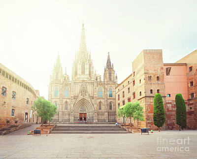 Gotic Cathedral  Of Barcelona Art Print