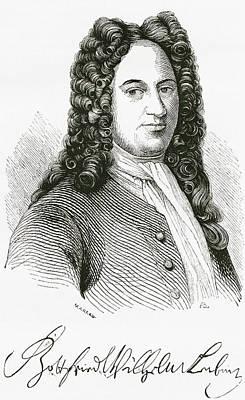 Autographed Drawing - Gottfried Wilhelm Von Leibniz, 1646 by Vintage Design Pics