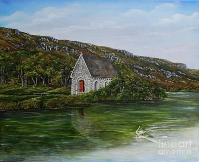 Gougane Barra Church Painting - Gougane Barra Cork Ireland by Avril Brand
