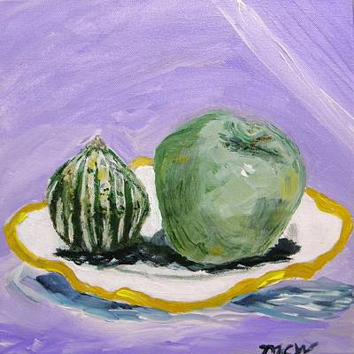 Gourd And Green Apple On Haviland Art Print by Mary Carol Williams